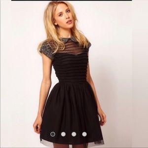 ASOS Skater Dress with Embellished Collar Sz 6